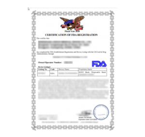 Ejemplo de certificado de la FDA falso