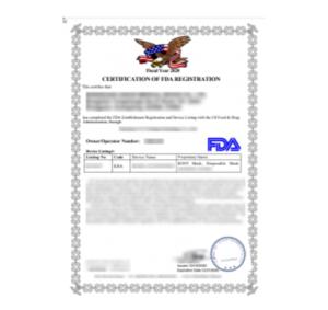 Certification of FDA Registration